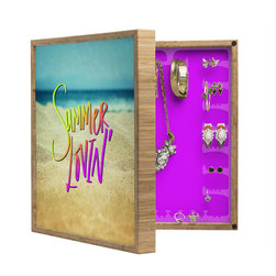 DENY Designs - Leah Flores Summer Lovin Beach BlingBox Petite - Handcrafted from 100% sustainable, eco-friendly flat grain Amber Bamboo, DENY Designs BlingBox Petite measures approximately 15 x 15 x 3 and has an exterior matte cover showcasing the artwork of your choice, with a coordinating matte color on the interior. Additionally, the BlingBox Petite includes interior built-in clear, acrylic hooks that hold over 120 pieces of jewelry! Doubling as both art and an organized hanging jewelry box, It's bound to be the most functional (and most talked about) piece of wall art in your home! Custom made in the USA for every order.