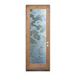 Sans Soucie Art Glass (door frame material T.M. Cobb) - Glass Front Entry Door Sans Soucie Art Glass Bonsai 2D Private - Sans Soucie Art Glass Front Door with Sandblast Etched Glass Design. Get the privacy you need without blocking light, thru beautiful works of etched glass art by Sans Soucie!This glass provides 100% obscurity.Door material will be unfinished, ready for paint or stain.Bronze Sill, Sweep and Hinges. Available in other finishes, sizes, swing directions and door materials.Tempered Safety Glass.Cleaning is the same as regular clear glass. Use glass cleaner and a soft cloth.