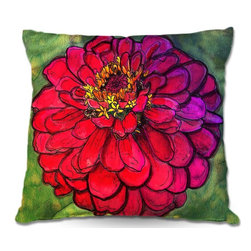 DiaNoche Designs - Pillow Linen - Diana Evans Parisian Zinnia - Add a little texture and style to your decor with our Woven Linen throw pillows. The material has a smooth boxy weave and each pillow is machine loomed, then printed and sewn in the USA.  100% smooth poly with cushy supportive pillow insert with a hidden zip closure. Dye Sublimation printing adheres the ink to the material for long life and durability. Double Sided Print, machine wash upon arrival for maximum softness. Product may vary slightly from image.