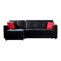 Istikbal - Elegant Sectional in Rainbow Black - The Elegant Sectional in Rainbow Black Finish is a wonderful piece for your living room set. It is carefully crafted and upholstered in rich Rainbow Black Finish. Feel the coziness with this perfect item. It is a three in one piece, as a Sectional, a storage compartment in the base, and it converts to a bed.