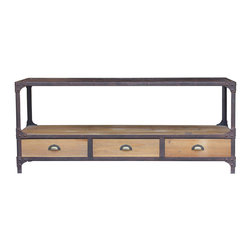 Kathy Kuo Home - Luca Reclaimed Wood Rustic Iron Industrial Loft Entertainment Stand - So classically cool, this entertainment station may just steal the show in your favorite setting. It's sleek and modern, yet with a vintage industrial vibe, thanks to stylish use of salvaged materials.