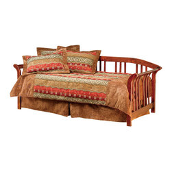 Hillsdale - Hillsdale Dorchester Solid Pine Wood Daybed in Brown Cherry Finish-Daybed - Hillsdale - Daybeds - 287DBLHTR - The Hillsdale Dorchester Daybed is constructed with solid pine in a brown cherry finish. This twin size daybed features sleigh arms gently curved backrest and slat spindles. A mattress supporting suspension deck is included. Extend its versatility by using it as a sofa in the home office or combining it with the optional roll-out trundle in the guest room for even more sleeping space. The convenient and space saving optional roll-out trundle fits a standard twin size mattress and includes six casters for easy setup. With calming curves and mission styling the Dorchester Daybed is sure to make any room in your home inviting and comfortable.