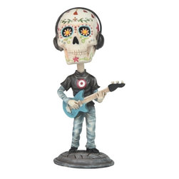 GSC - 7 Inch Day of the Dead Sugar Skull Playing Guitar Figurine - This gorgeous 7 Inch Day of the Dead Sugar Skull Playing Guitar Figurine has the finest details and highest quality you will find anywhere! 7 Inch Day of the Dead Sugar Skull Playing Guitar Figurine is truly remarkable.
