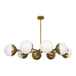 """Jonathan Adler - Contemporary Jonathan Adler Rio 49 3/4"""" Wide Antique Brass Chandelier - Oval 8-light chandelier. Antique brass tone finish. Eight oval shades in white emanate diffused light. Adjustable extension from ceiling for a custom look. Rods canopy and base coordinate for design continuity. Eight maximum 40 watt or equivalent medium base bulbs (not included). Includes 12 feet of leadwire. Includes one 6"""" three 12"""" downrods. 49 3/4"""" wide. 8"""" high. 33 1/2"""" deep. Adjustable 14"""" to 50"""" overall hang height. Canopy is 5 1/2"""" wide. Each globe shade is 8 1/4"""" wide.  Oval 8-light chandelier.  Antique brass tone finish.  Eight oval shades in white emanate diffused light.  Adjustable extension from ceiling for a custom look.  Rods canopy and base coordinate for design continuity.  Eight maximum 40 watt or equivalent medium base bulbs (not included).  Includes 12 feet of leadwire.  Includes one 6"""" three 12"""" downrods.  49 3/4"""" wide.  8"""" high.  33 1/2"""" deep.   Adjustable 14"""" to 50"""" overall hang height.  Canopy is 5 1/2"""" wide.  Each globe shade is 8 1/4"""" wide."""