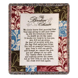 Manual - The Broken Chain Tapestry Bereavement Throw Blanket 50 Inch x 60 Inch - This multicolored woven tapestry throw blanket is a  great way to memorialize a lost loved one. Made of cotton, the blanket measures 50 inches wide, 60 inches long, and has approximately 1 1/2 inches of fringe around the border. The blanket features a patchwork leaf print, with a poem, 'The Broken Chain', printed in the center. Care instructions are to machine wash in cold water on a delicate cycle, tumble dry on low heat, wash with dark colors separately, and do not bleach. This comfy blanket makes a great gift for grieving friends and family.