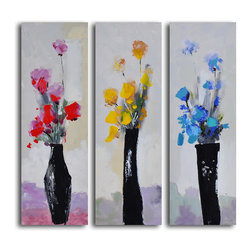 """My Art Outlet - Trio Of Primary Blooms Hand Painted Canvas Wall Art - Size: 36"""" x 36"""" (12"""" x 36"""" x 3pc). Enjoy a 100% Hand Painted Wall Art made with oil and acrylic paints on canvas stretched over a 1"""" thick inner wooden frame. The painting is gallery wrapped and ready to hang out of the box. A very stylish addition to any room that is sure to get the attention of guests."""
