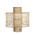 Bambeco Rattan Moderne Hanging Pendant - A 20s sensibility with a decidedly modern vibenatural rattan wraps in concentric circles to deliver structured simplicity on impressive scale. Both dramatic and demure, the open weave conveys a sense of presence without bulk. Light in attitude and weight, this elegant pendant is as easy on the eyes as it is to hang.  Set: Includes a mini pendant kit for ceiling mounting. Maximum cord length, 50.  Dimensions: 24H x 23.5 Diam.
