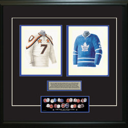 """Heritage Sports Art - Original art of the NHL 1962-63 NHL All-Star jersey - This beautifully framed piece features two pieces of original, one-of-a-kind artwork. Both images are glass-framed in an attractive two inch wide black resin frame with a double mat. The outer dimensions of the framed piece are approximately 28"""" wide x 24.5"""" high, although the exact size will vary according to the size of the original art. At the core of the framed piece is the actual piece of original artwork as painted by the artist on textured 100% rag, water-marked watercolor paper. In many cases the original artwork has handwritten notes in pencil from the artist. Simply put, this is beautiful, one-of-a-kind artwork. The outer mat is a rich textured black acid-free mat with a decorative inset white v-groove, while the inner mat is a complimentary colored acid-free mat reflecting one of the team's primary colors. The image of this framed piece shows the mat color that we use (Medium Blue). Beneath the artwork is a silver plate with black text describing the original artwork. The text for this piece will read: This is an original watercolor painting of the 1962-63 NHL All-Star jersey and a reproduction of the 1962-63 Toronto Maple Leafs jersey. These jersey images have been, and continue to be, used to celebrate the history of the NHL All-Star game in posters like the one shown below as well as game programs, magazines and websites across North America. Beneath the silver plate is a 3"""" x 9"""" reproduction of a well known, best-selling print that celebrates the history of the team. The print beautifully illustrates the chronological evolution of the team's uniform and shows you how the original art was used in the creation of this print. If you look closely, you will see that the print features the actual artwork being offered for sale. The piece is framed with an extremely high quality framing glass. We have used this glass style for many years with excellent results. We package every piece"""