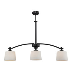 Z-Lite - Z-Lite Arlington Kitchen Island / Billiard X-B3-022 - Bold and thick framing define this three light island fixture. Finished in oil rubbed bronze, the fixture also has complimentary matte opal glass shades, which create a soft yet modern look. Telescoping rods are included for a custom look.