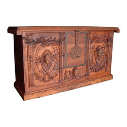 Mexican Artisans - Mexican Angels Carved Trunk - Indeed Decor's exquisite Mexican Angels Carved Trunk is a perfect blend of heavenly form and functional storage.  This exquisite work of art is large enough to store all your bedding essentials. It would also make a fantastic home bar. Our well-crafted trunk measures 84″W x 44″H x 22″D.