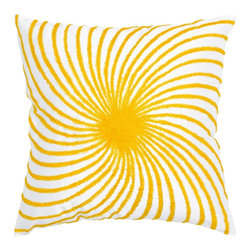 "Yellow/White Sunburst Pillows, Set of 2 - *18"" x 18"" Pillow with Hidden Zipper"