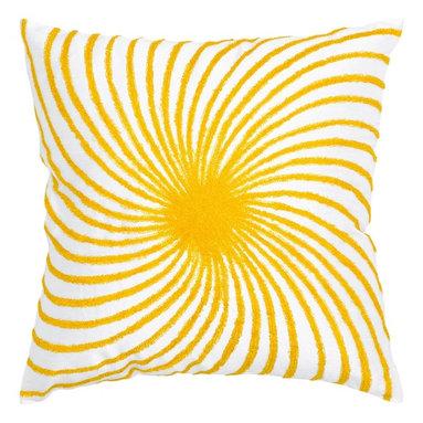 """Yellow White Sunburst 18"""" x 18"""" Pillow  Set of 2 - *18"""" x 18"""" Pillow with Hidden Zipper"""