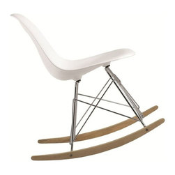 Fine Mod Imports - Fine Mod Imports Rocker Side Chair in White (Set of 2) - The Rocker Side Chair is a classic mid-century piece made the classic way with ABS in Stainless steel legs in and in Ash wood base