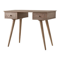 Southern Enterprises - Bentley Desk - This burnt oak desk takes a look back to move forward with style. Add this contemporary desk to your home and it's sure to spark conversation. This burnt oak desk features slim, angled legs in a stylish nod to iconic mid-century design. The desk also provides plenty of storage for writing necessities with two deep storage drawers. The desk also features a multi-step finish, giving each desk a unique appearance. This beautiful desk fits well in any home office, bedroom, or other work area. The iconic design of this desk blends uniquely in homes with any style of decor.