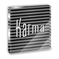 "Made on Terra - Karma Your Fate and Destiny Mini Desk Plaque and Paperweight - You glance over at your miniature acrylic plaque and your spirits are instantly lifted. It's just too cute! From it's petite size to the unique design, it's the perfect punctuation for your shelf or desk, depending on where you want to place it at that moment. At this moment, it's standing up on its own, but you know it also looks great flat on a desk as a paper weight. Choose from Made on Terra's many wonderful acrylic decorations. Measures approximately 4"" width x 4"" in length x 1/2"" in depth. Made of acrylic. Artwork is printed on the back for a cool effect. Self-standing."