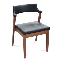 DomItalia Furniture - Lyra Walnut / Black Leather Dining Chair (Set of 2) - Add sophistication and luxury to any modern dining room with this Domitalia Lyra Black Leather Dining / Walnut Chair (Set of 2). Boasting a solid wood frame and fine leather upholstery, the chair has back that is enveloped in leather. Back is also curved to provide both comfort and support. The rear legs sit at a slant and attach directly to the seat back to display an intriguing angular design. Legs also offer reinforcement and stability to the chair.