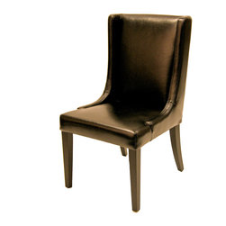 Four Hands - Davis Dining Chair - You've worked hard. It's time to get your seat at the table. Make it a stylish one with this modern dining chair. Its high back and gently swooping arms in supple bicast leather will ensure that you and your guests linger over the linguine a little longer.