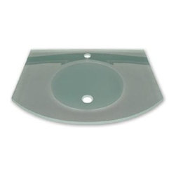 Whitehaus - New Generation Glass Counter Top w Basin - Integrated round basin. Arched 0.5 in. matte glass counter top. Polished stainless steel angular wall mount supports. Single hole faucet drilling. Bowl: 14 in. Dia. x 5.5 in. H. Overall: 28 in. L x 22 in. W (34 lbs.). Warranty
