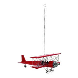 """Vintage Look Metal Plane Decor - Vintage Look Metal Plane Decor features red retro detailed biplane with metal chain hanger. 31"""" W x 11"""" H"""