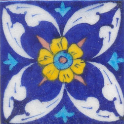 "Knobco - Tiles 3x3"", White Leaves & Yellow & Turquoise Flower w/ Blue - White Leafs and Yellow and Turquoise Flower with Blue Base Tiles from Jaipur, India. Unique, hand painted tiles for your kitchen or other tiling project. Tile is 3x3"" in size."