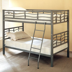 Coaster - 7395 Bunk Bed - The unique designs of this twin bunk bed will bring contemporary charm to your child's bedroom. The dark silver metal frame is enhanced by unique wave like curves on the surrounding side rails and guard rails. The included coordinating ladder will provide easy access to the top bunk. Whether you seeking space saving features or simply a fun and attractive piece, this twin bunk will give your child's bedroom an updated look.
