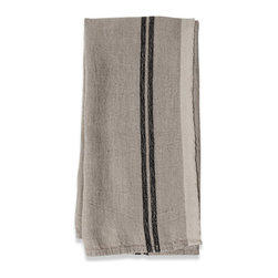 Origin Crafts - Khadhi vintage linen tea towels (black), set of 2 - Khadhi Vintage Linen Tea Towels (Black), Set of 2 Because Khadhi linen fabric is entirely handmade ? from the spinning to weaving stage, it has a natural, earthy look and feeling. At the same time, it?s understatedly chic and these Khadi tablecloths, napkins and handkerchiefs are perfect for outdoor dining, complementing a rustic breakfast table or contrasting and softening a modern dining room setting. A Caravan exclusive. Each 100% linen tea towel is entirely handmade and yarn dyed for a natural texture. Easy care and practical: machine washable, ironing is optional. Dimensions (in):20x30 By Couleur Nature - Couleur Nature is a wholesaler of fine, French-inspired Indian woodblock-printed and vintage linens. Couleur Nature?s linens and home accessories are versatile and can be used for formal or casual table settings year-round, as well as the every day. Their distinct but wide appeal makes them ideal for almost any occasion, decor or personal style. Usually ships in three business days. Our linens are handmade: slight variations are natural and make each piece unique.