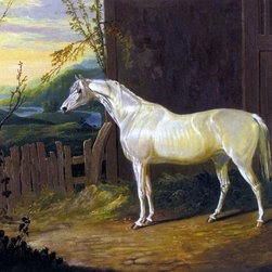 """Sr. John Frederick Herring A Gray Arab Mare Print - 18"""" x 24"""" Sr. John Frederick Herring A Gray Arab Mare outside a Stable in an Extensive River Landscape premium archival print reproduced to meet museum quality standards. Our museum quality archival prints are produced using high-precision print technology for a more accurate reproduction printed on high quality, heavyweight matte presentation paper with fade-resistant, archival inks. Our progressive business model allows us to offer works of art to you at the best wholesale pricing, significantly less than art gallery prices, affordable to all. This line of artwork is produced with extra white border space (if you choose to have it framed, for your framer to work with to frame properly or utilize a larger mat and/or frame).  We present a comprehensive collection of exceptional art reproductions bySr. John Frederick Herring."""