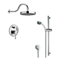 Remer - Round Polished Chrome Rain Shower Faucet with Handheld Shower - Multi function shower faucet.