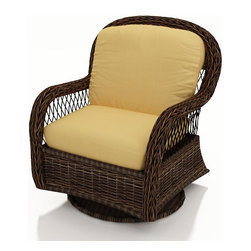 Forever Patio - Leona Wicker Patio Swivel Glider Chair, Canvas Wheat Cushions - The Forever Patio Leona Rattan Patio Swivel Glider with Gold Sunbrella cushions (SKU FP-LEO-SG-MC-CW) is both comfortable and elegant with its roomy seating and sweeping curves. The mocha-colored wicker is UV-protected, and features two tones that give it a more natural, traditional look. Each strand of this outdoor wicker is made from High-Density Polyethylene (HDPE) and is infused with its rich color and UV-inhibitors that prevent cracking, chipping and fading ordinarily caused by sunlight. This outdoor swivel glider is supported by thick-gauged, powder-coated aluminum frames that make it more durable than natural rattan. This chair includes fade- and mildew-resistant Sunbrella cushions, adding comfort to your outdoor space.