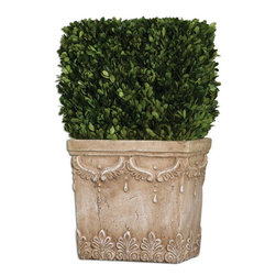 Uttermost - Uttermost 60110  Boxwood Hedge Planter - Preserved, natural evergreen foliage potted in a stone finished, ceramic planter.