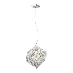 "Trans Globe Lighting - Trans Globe Lighting TG-MDN-1187 Bejeweled 11"" Crystal Cube Contemporary Pendant - light drop pendant. Adjustable height - lengthen or shorten wire. 11"" square cube. Vaulted ceiling ok. Halogen bulbs included. Chrome frame."