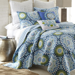 Levtex Home - Blue & Green Quiet Flower Quilt Set - Featuring an elegant yet homey design and comfy cotton construction, this colorful quilt set complements existing décor while providing a welcoming place for cozy cuddlers.   Includes quilt and two shams (twin sizes include one sham) Cotton Machine wash; tumble dry Imported