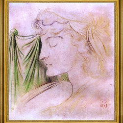 """Simeon Solomon-16""""x20"""" Framed Canvas - 16"""" x 20"""" Simeon Solomon Woman's Head in Profile with Drapery framed premium canvas print reproduced to meet museum quality standards. Our museum quality canvas prints are produced using high-precision print technology for a more accurate reproduction printed on high quality canvas with fade-resistant, archival inks. Our progressive business model allows us to offer works of art to you at the best wholesale pricing, significantly less than art gallery prices, affordable to all. This artwork is hand stretched onto wooden stretcher bars, then mounted into our 3"""" wide gold finish frame with black panel by one of our expert framers. Our framed canvas print comes with hardware, ready to hang on your wall.  We present a comprehensive collection of exceptional canvas art reproductions by Simeon Solomon."""