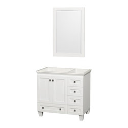 """Wyndham Collection - 36"""" Acclaim Single Bathroom Vanity in White, No Countertop, No Sink - Sublimely linking traditional and modern design aesthetics, and part of the exclusive Wyndham Collection Designer Series by Christopher Grubb, the Acclaim Vanity is at home in almost every bathroom decor. This solid oak vanity blends the simple lines of traditional design with modern elements like beautiful overmount sinks and brushed chrome hardware, resulting in a timeless piece of bathroom furniture. The Acclaim comes with a White Carrera or Ivory marble counter, a choice of sinks, and matching mirrors. Featuring soft close door hinges and drawer glides, you'll never hear a noisy door again! Meticulously finished with brushed chrome hardware, the attention to detail on this beautiful vanity is second to none and is sure to be envy of your friends and neighbors"""