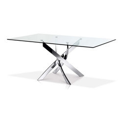 ARTeFAC - Rectangular Dining Table with Chrome Legs - Rectangular Dining Table with Chrome Legs