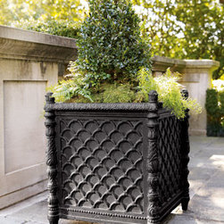 "Horchow - Square Black Planter - A basketweave pattern and intricately designed legs form a planter with plenty of room to grow. Handcrafted of lightweight and durable materials with a hand-applied lacquer finish. 20.5""Sq. x 24.25""T. Why we choose manmade materials. Today's composit..."