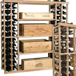 Wine Cellar Innovations - Vintner 4 ft. Case Storage Wine Rack (Premium Redwood - Midnight Black Stain) - Choose Wood Type and Stain: Premium Redwood - Midnight Black StainBottle capacity: 144. Custom and organized look. Four open compartments in the center. Individual wine display storage on both sides. Versatile wine racking. Can accommodate just about any ceiling height. Optional base platform: 45.69 in. W x 13.38 in. D x 3.81 in. H (5 lbs.). Wine rack: 45.69 in. W x 13.5 in. D x 47.19 in. H (7 lbs.). Vintner collection. Made in USA. Warranty. Assembly Instructions. Rack should be attached to a wall to prevent wobble