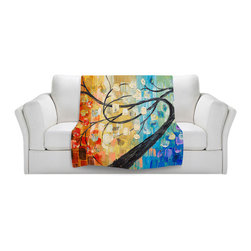 DiaNoche Designs - Throw Blanket Fleece - Abstract Tree - Original Artwork printed to an ultra soft fleece Blanket for a unique look and feel of your living room couch or bedroom space.  DiaNoche Designs uses images from artists all over the world to create Illuminated art, Canvas Art, Sheets, Pillows, Duvets, Blankets and many other items that you can print to.  Every purchase supports an artist!