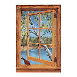 "Stupell Industries - Wood Cabin And Cardinal Faux Window Scene - Decorative and functional. Made in USA. Original Stupell art. 22 in. H x 33 in. W. 0.5 in. ThickThe one of kind faux window collection from ""The Stupell Home decor Collection"" is the perfect accessory for any room. Created by California muralist Louise Cartter, this lithograph is an original piece of artwork inspired by the actual very scene that was painted! Faux window scenes are especially popular for bathrooms and other rooms without a window. The realistic look instantly brightens any room giving it a larger and brighter feel. The lithograph is laminated on sturdy MDF fiberboard; hand finished and comes ready to hang from the saw tooth hanger on its back."