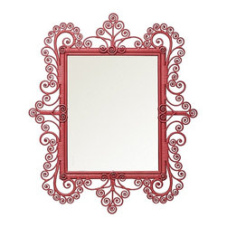 Serena & Lily - Peacock Scroll Mirror Tropical Pink - This funky tropical pink mirror would make the perfect accent piece in an entry. It would be beautiful on sand-colored walls with a white chest underneath.