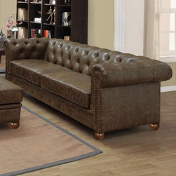 Armen Living - Winston Vintage Soda - The classic Chesterfield is a staple in every room requiring refinement and elegance. The aesthetically pleasing antique bonded leather cover offers years of low maintenance, while the antique nails accentuate the quality of the piece. Richly appoint your living space with this luxurious sofa.