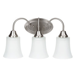 Sea Gull Lighting - Sea Gull Lighting 49808BLE-962 Sea Gull Lighting 49808BLE-827 Bell Metal Bronze - Sea Gull Lighting 49808BLE Fluorescent Holman Three Light Wall/Bath Vanity Fluorescent Holman Three Light Wall/Bath Vanity with Satin Etched GlassThe