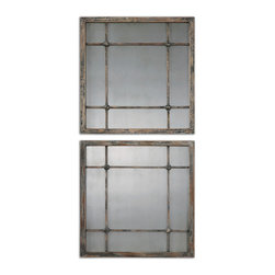 Uttermost - Saragano Square Mirrors, Set of 2 - Inspired by old window frames, this square set adds rustic elegance to your decor. The wood is heavily distressed and the mirrors antiqued to bring old-fashioned charm to your home.