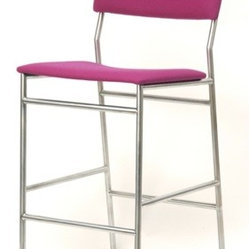 SB Stool - This is a very functional, comfortable looking barstool which can be customized extensively, in cane, leather or upholstered (as shown).