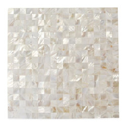 """GlassTileStore - Serene White Squares Groutless Pearl Shell Tile - Serene White Square Pearls Pattern Glass Tile             This captivating mother of pearl tile in white is artifully arranged in a seamless pattern. The pearl shell will add a durability and lasting exquisitness to your kitchen, or fireplace installation. These tiles are mesh mounted and will bring a sleek and contemporary clean design to any room. This tile in particular does not require grout.          Chip Size: 17mm x 17mm   Color: White   Material: Pearl Shell Glass   Finish: Polished    Sold by the Sheet - each sheet measures 12"""" x 12"""" (1 sq. ft.)   Thickness: 2 mm   Please note each lot will vary from the next.   This tile is not recommended to be installed in a shower, shower floor or pools.            - Glass Tile -"""