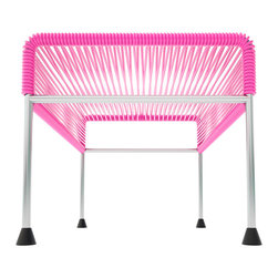 Adam Ottoman, Chrome Frame With Pink Weave - Sleek woven vinyl makes this coffee table stand out from the crowd. It's a great option for indoor and outdoor entertaining since the vinyl is UV protected and the metal base is galvanized. The only challenge would be deciding on your favorite color top to pair with the sleek chrome base.