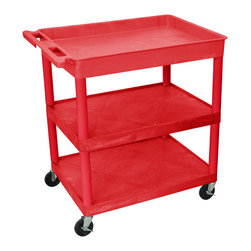 """Luxor - Luxor Tub Cart - RDTC122RD - These Luxor TC series utility carts are made of high density polyethylene structural foam molded plastic shelves and legs that won't stain, scratch, dent or rust. Features a retaining lip around the back and sides of flat shelves. Includes four heavy duty 4"""" casters, two with brake. Has a push handle molded into the top shelf."""