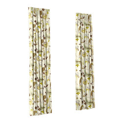 Lime & Brown Botanical Custom Euro Pleat Drape Single Panel - Luxury meets functionality, tradition meets modernity in the Euro Pleated Drapery. Top-gathered pleats create a waterfall effect for an updated take on the classic pleat that's perfect for classic and modern rooms alike.  We love it in this modern floral with magenta & lime blossoms and leaves swirling across a misty linen ground.