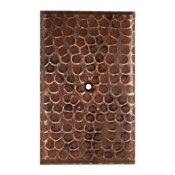 Premier Copper Products - Premier Copper Products SB2 Blank Single Hole Hammered Copper Switch Plate Cover - Premier Copper Products SB2 Blank Hand Hammered Copper Switch Plate Cover - Single Hole