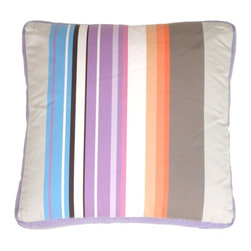 "Pillow Decor - Pillow Decor - Grape & Charcoal Stripes Throw Pillow - A mix of wide and narrow bands of color give this cotton pillow its"" punch. The addition of texture in the grape linen box edge perfects the design. This pillow pairs wonderfully with its cousin, the Green Apple Throw Pillow. It will wow you with its sophisticated style and detailing."